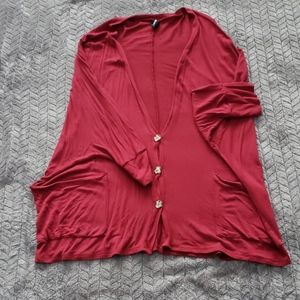 Agnes &Dora oversized cardi ruby red